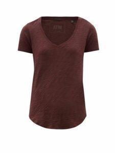 Atm - Scooped V Neck Slubbed Cotton T Shirt - Womens - Burgundy