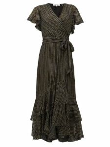 Diane Von Furstenberg - Donnie Metallic Silk Blend Georgette Midi Dress - Womens - Black Gold