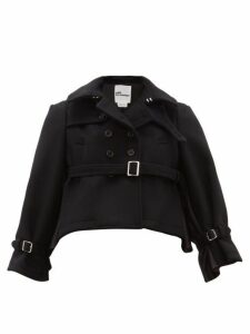 Noir Kei Ninomiya - Double Breasted Cropped Wool Coat - Womens - Black