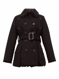 Noir Kei Ninomiya - Double Breasted Faux Fur Trim Wool Blend Coat - Womens - Black