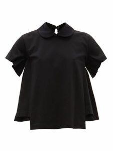 Noir Kei Ninomiya - Peter Pan Collar Cotton T Shirt - Womens - Black