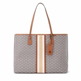 Tory Burch Gemini Link Shoulder Bag In Leather-colored Canvas