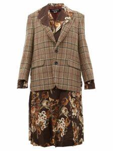 Junya Watanabe - Checked And Floral Print Layered Jacket - Womens - Brown Multi