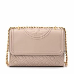 Tory Burch Fleming Small Shoulder Bag In Taupe Tufted Leather