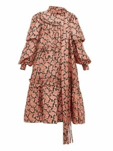 Marc Jacobs - Ruffled Paisley Print Silk Midi Dress - Womens - Pink Print