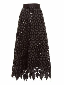 Marc Jacobs - Sequinned Guipure Lace Midi Skirt - Womens - Black Multi