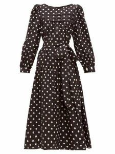 Marc Jacobs - Belted Polka Dot Silk Satin Midi Dress - Womens - Black