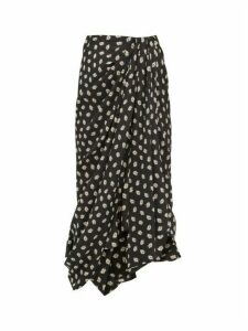 Isabel Marant - Candice Draped Floral Print Silk Midi Skirt - Womens - Black Print