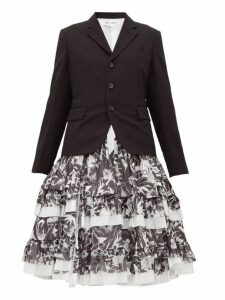 Comme Des Garçons Comme Des Garçons - Printed Skirt Panelled Wool Blazer - Womens - Black White
