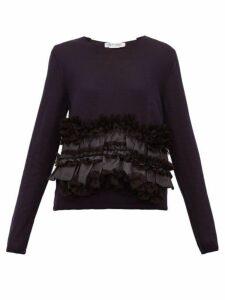 Comme Des Garçons Comme Des Garçons - Satin Ruffle Wool Sweater - Womens - Navy