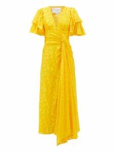 Carolina Herrera - Ruffle Sleeve Floral Jacquard Dress - Womens - Yellow