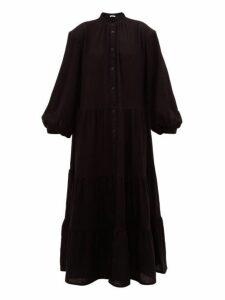 Ryan Roche - Tiered Cashmere Maxi Dress - Womens - Black