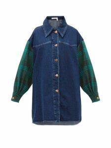 See By Chloé - Oversized Checked Sleeve Denim Shirt - Womens - Denim Multi