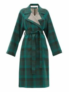 See By Chloé - Belted Checked Twill Trench Coat - Womens - Green Multi