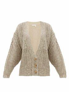 See By Chloé - Bi Colour Alpaca Blend Cardigan - Womens - Beige Multi