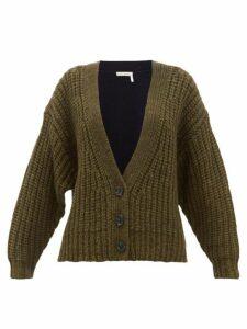 See By Chloé - Bi Colour Alpaca Blend Cardigan - Womens - Khaki Multi