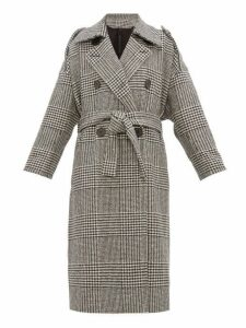 Petar Petrov - Mila Double Breasted Checked Wool Coat - Womens - Black White