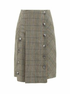 Chloé - Buttoned Checked Wool Blend Skirt - Womens - Grey Multi