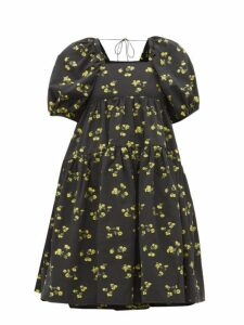 Cecilie Bahnsen - Ronja Tiered Floral Fil-coupé Dress - Womens - Black Yellow