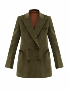 Blazé Milano - Classic Touch Double Breasted Corduroy Blazer - Womens - Green