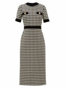 Gucci - Houndstooth Wool Blend Dress - Womens - Black White