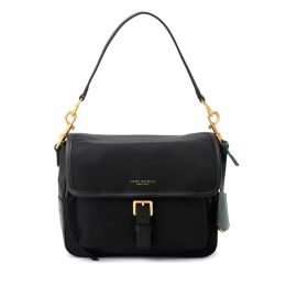 Tory Burch Perry Shoulder Bag In Fabric And Black Leather With Removable Shoulder Strap
