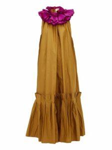 Roksanda - Verda Ruffle Collar Taffeta Dress - Womens - Brown Multi