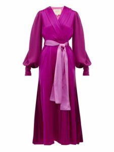 Roksanda - Elena Balloon Sleeve Silk Midi Dress - Womens - Dark Pink