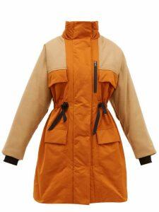 Roksanda - Nomi Colour Blocked Taffeta And Wool Blend Coat - Womens - Orange Multi