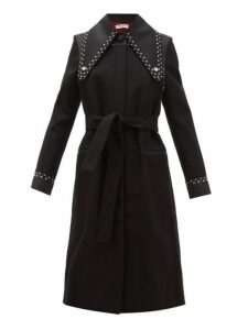 Françoise - Studded Single Breasted Cotton Twill Coat - Womens - Black