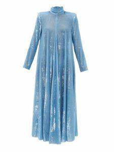 Françoise - High Neck Tinsel Velvet Dress - Womens - Blue