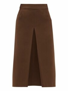Françoise - Pleated Cotton-blend Crepe Midi Skirt - Womens - Brown