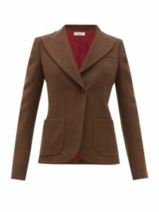 Françoise - Single Breasted Cotton Blend Blazer - Womens - Brown
