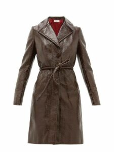 Françoise - Crackle Effect Faux Leather Trench Coat - Womens - Brown