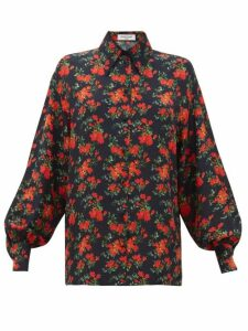 Françoise - Floral Print Balloon Sleeve Silk Shirt - Womens - Navy Multi