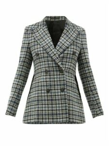 Golden Goose - Checked Double Breasted Wool Tweed Blazer - Womens - Blue Multi