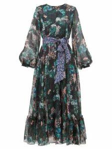 Beulah - Sara Forest Print Silk Chiffon Dress - Womens - Green Multi