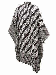 Andrew Gn - Printed Silk Satin Kaftan Dress - Womens - Black White
