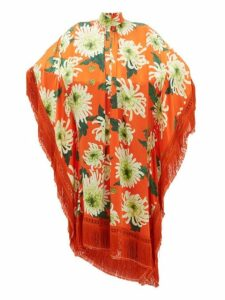 Andrew Gn - Fringed Floral Print Silk Blend Poncho Dress - Womens - Orange Multi