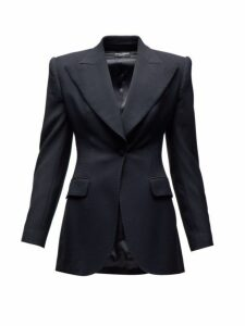 Dolce & Gabbana - Tailored Single Breasted Wool Blend Blazer - Womens - Black