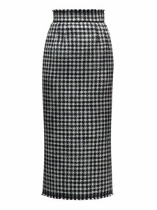 Dolce & Gabbana - Raw Hem Wool Blend Houndstooth Pencil Skirt - Womens - Black White