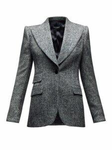 Dolce & Gabbana - Single Breasted Wool Blend Peak Lapel Blazer - Womens - Grey Multi