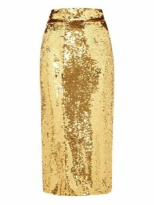 Dolce & Gabbana - High Rise Sequinned Pencil Skirt - Womens - Gold