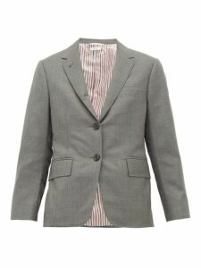 Thom Browne - Single Breasted Short Wool Blazer - Womens - Grey