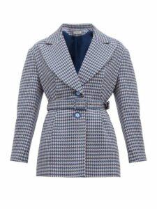 Vika Gazinskaya - Single Breasted Houndstooth Wool Blazer - Womens - Blue Multi