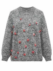 Vika Gazinskaya - Oversized Bobble Stitch Sweater - Womens - Grey Multi