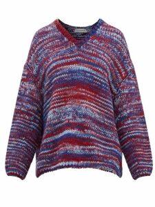 Vika Gazinskaya - Oversized V Neck Knitted Sweater - Womens - Blue Multi