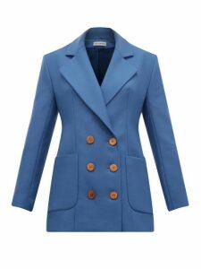 Vika Gazinskaya - Double Breasted Wool Twill Blazer - Womens - Blue
