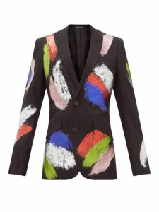 Germanier - Recycled Glitter Paint Single Breasted Blazer - Womens - Black Multi