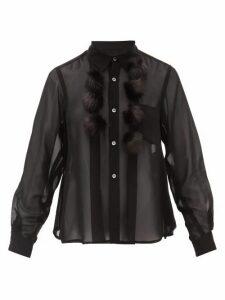 Comme Des Garçons Comme Des Garçons - Faux Fur Pompom Georgette Blouse - Womens - Black